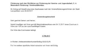 Zuwendungsbescheid Stadt Lampertheim