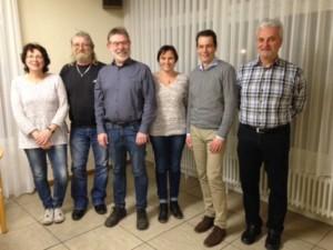 Vorstand des Leichtathletik Kreis Bergstraße mit Ulrike Becker, Günther Philippe, Erhardt Schäfer, Anja Hartmann, Klaus Schader (Vertreter des HLV) und Günther Gross (v.l.n.r)