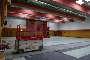 Start energetische Sanierung der Hallenbeleuchtung am 26.03.2018.