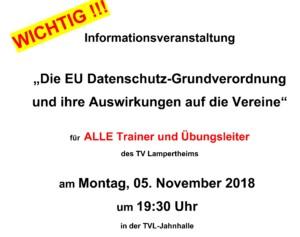 Datenschutz-Infoveranstaltung am 05.11.2018