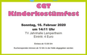 CGT-Kinderkostümfest am 16.02.2020